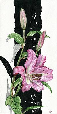 Poster featuring the painting Flower Lily 02 Elena Yakubovich by Elena Yakubovich