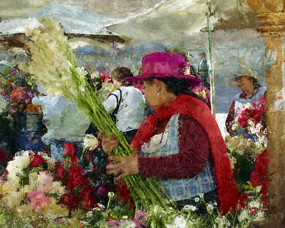 Flower Market Cuenca Ecuador Poster