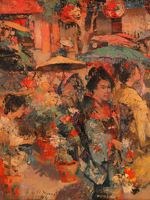 Flower Market Nagasaki Poster