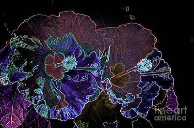 Flower - Neon Hibiscus - Luther Fine -art Poster by Luther Fine Art