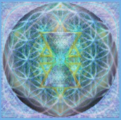 Flower Of Life Forested Chalice In Subtle Bluelavs Poster