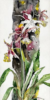 Poster featuring the painting Flower Orchid 03 Elena Yakubovich by Elena Yakubovich