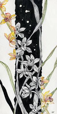 Poster featuring the painting Flower Orchid 07 Elena Yakubovich by Elena Yakubovich