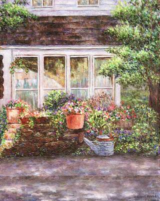 Flower Pots And A Flower Barrel Poster by Susan Savad