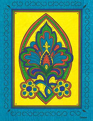 Flower Power Talavera Style Poster by Susie Weber