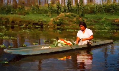 Poster featuring the digital art Flower Seller Xochimilco by Spyder Webb