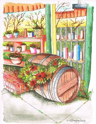 Barrel With Flowers In A Flower Shop In West Hollywood - California Poster by Carlos G Groppa