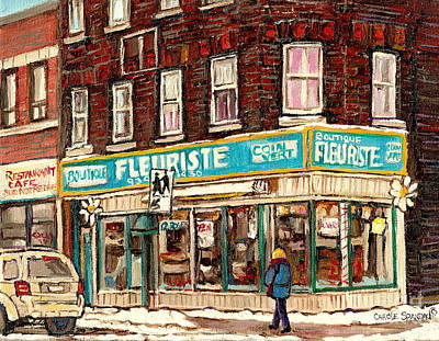 Flower Shop Rue Notre Dame Street Coin Vert Fleuriste Boutique Montreal Winter Stroll Scene Poster by Carole Spandau