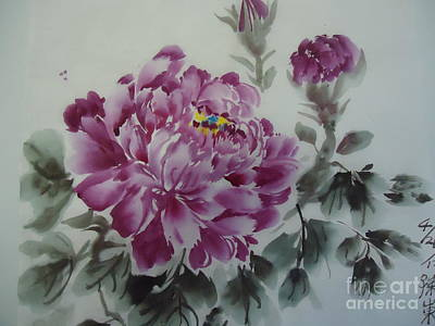 Poster featuring the painting Flower427012-4 by Dongling Sun