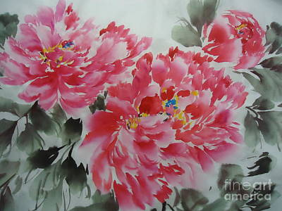 Poster featuring the painting Flower51012-4 by Dongling Sun