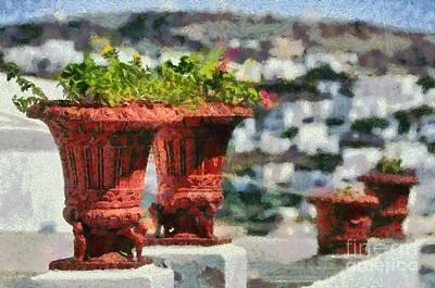 Flowerpots In Sifnos Island Poster