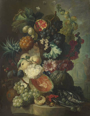 Flowers And A Fish Poster by Jan van Os