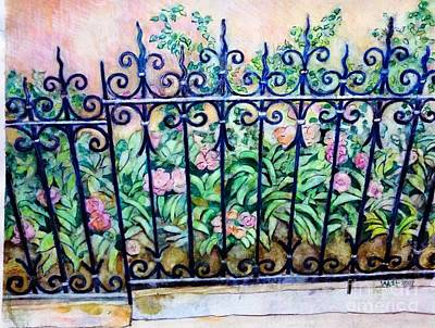 Flowers And Fence On Eighth Avenue Poster