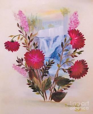 Flowers And Spokane Falls Poster by Duane West