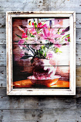 Flowers And Wood Poster by Patricia Greer