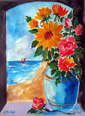 Flowers In A Blue Vase  And The Beach Poster by Roberto Gagliardi