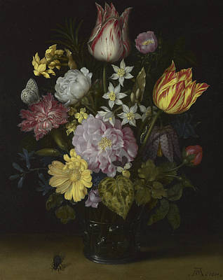 Flowers In A Glass Vase Poster by Ambrosius Bosschaert the Elder