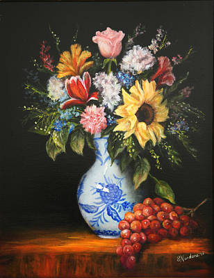 Poster featuring the painting Flowers In Blue And White Vase by Sandra Nardone