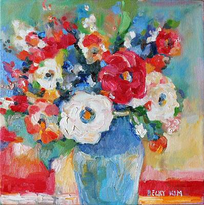 Flowers In Blue Vase 1 Poster by Becky Kim