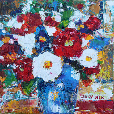 Flowers In Blue Vase 2 Poster
