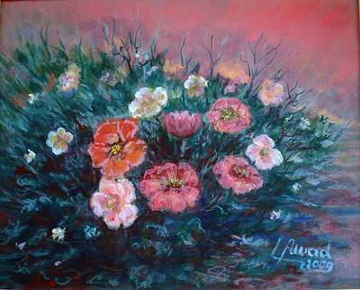 Poster featuring the painting Flowers In My Garden. by Laila Awad Jamaleldin