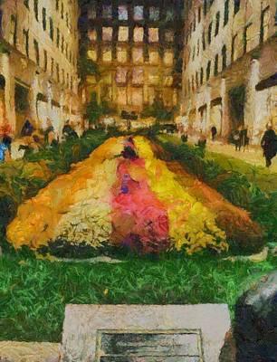 Flowers In Rockefeller Plaza Poster by Dan Sproul