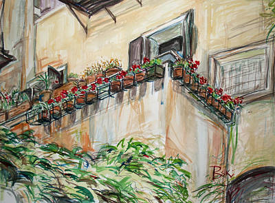 Poster featuring the painting Flowers In The Pots by Becky Kim
