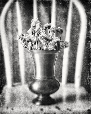 Flowers In Vase Still Life In Black And White Poster