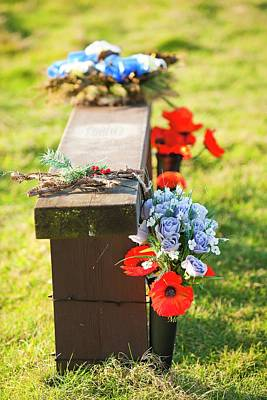 Flowers On A Memorial Bench Poster by Ashley Cooper
