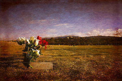 Flowers On Memorial Poster by Dave Garner