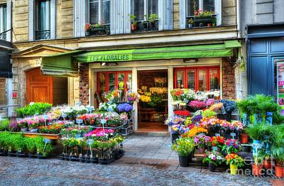 Flowers On Rue Cler Poster by Mel Steinhauer