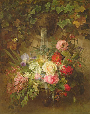 Flowers Under A Lion Fountain Poster