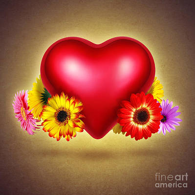 Flowery Heart Poster by Carlos Caetano