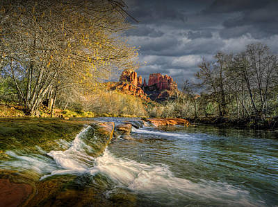 Flowing Water By Cathedral Rock Poster