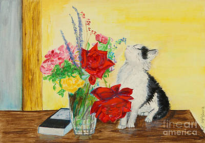 Fluff Smells The Lavender- Painting Poster by Veronica Rickard