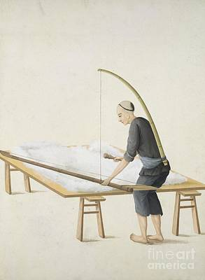 Fluffing Cotton, 19th-century China Poster by British Library