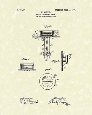 Fluid Gauge 1905 Patent Art Poster by Prior Art Design