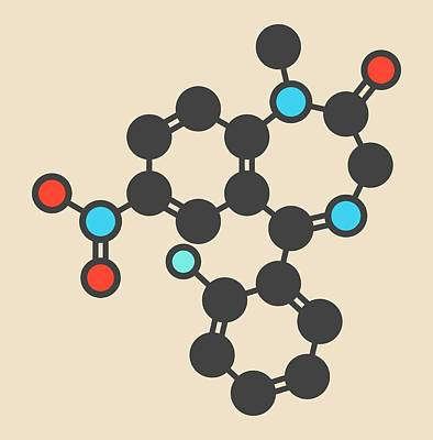 Flunitrazepam Hypnotic Drug Molecule Poster