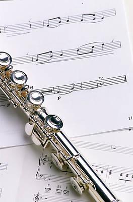 Flute On Music Poster by Jon Neidert