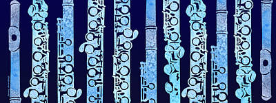 Flutes In Blue Poster by Jenny Armitage