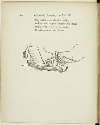 Fly And Daddy Long-legs Sailing In A Boat Poster by British Library