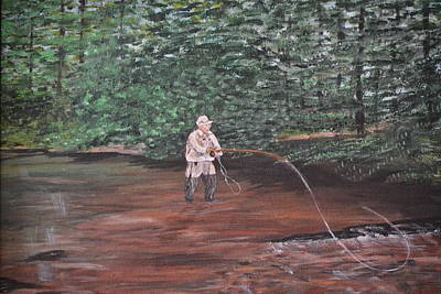 Fly Fishing Poster by Debbie Baker