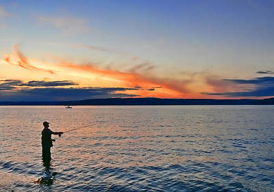 Fly Fishing  Fisherman On Puget Sound Washington Poster by Jennie Marie Schell