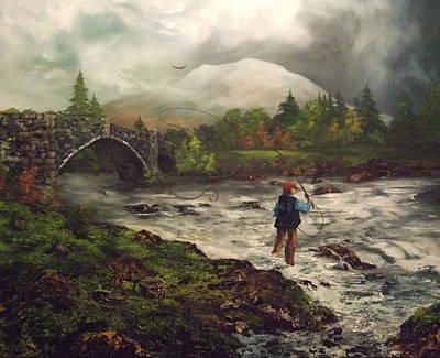 Fly Fishing In Wales Poster by Jean Walker