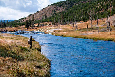 Poster featuring the photograph Fly Fishing In Yellowstone  by Lars Lentz