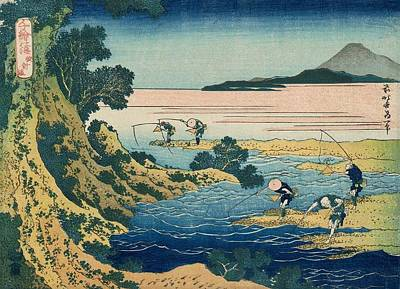 Fly-fishing Poster by Katsushika Hokusai