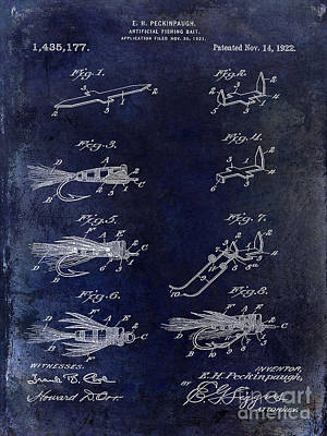1922 Fly Fishing Lure Blue Poster by Jon Neidert