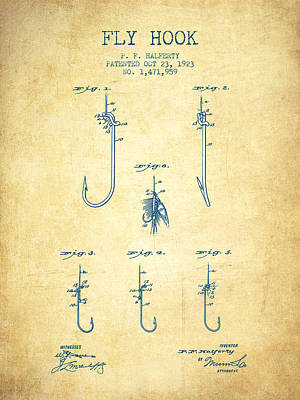 Fly Hook Patent From 1923 - Vintage Paper Poster