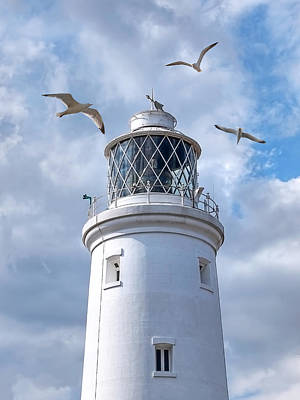Fly Past - Seagulls Round Southwold Lighthouse Poster by Gill Billington