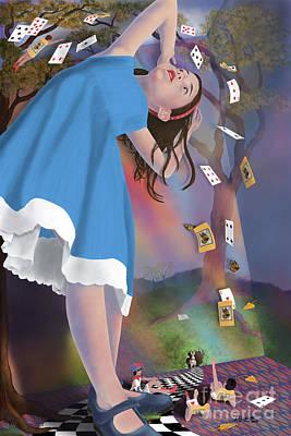 Flying Cards Dissolve Alice's Dream Poster